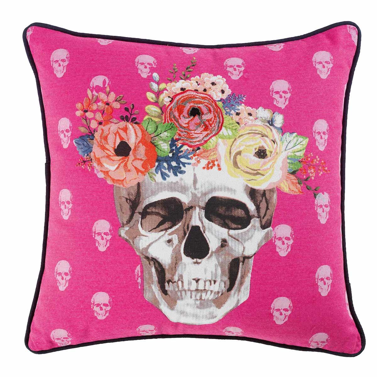 coussin imprim t te de mort fleurie rose homemaison. Black Bedroom Furniture Sets. Home Design Ideas