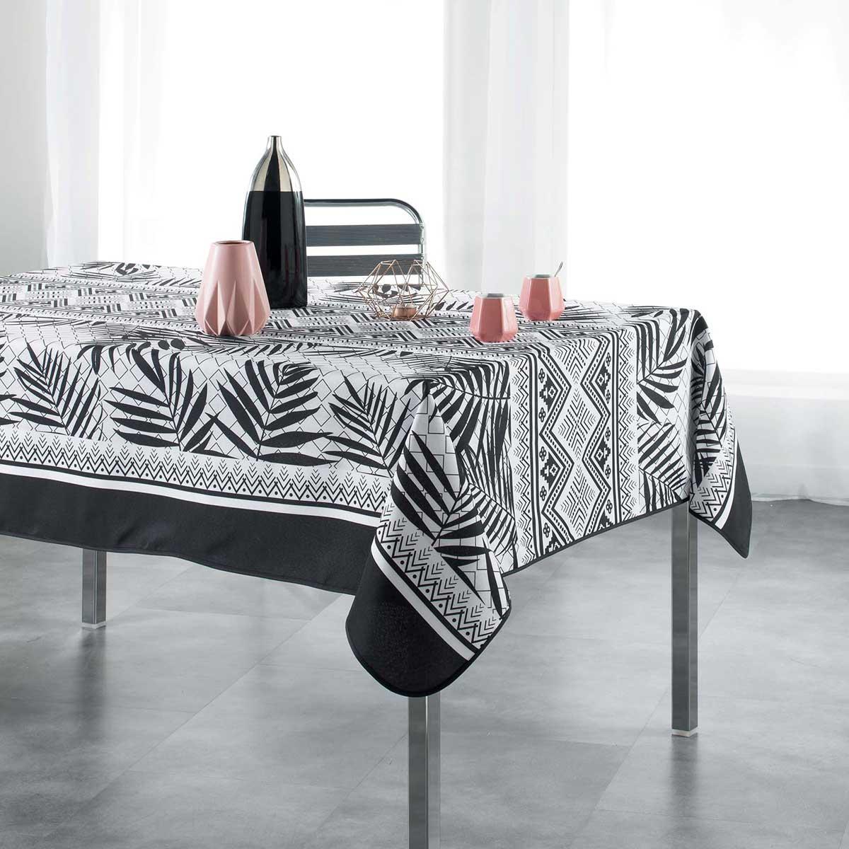 nappe rectangulaire imprim e en blanc et noir blanc et. Black Bedroom Furniture Sets. Home Design Ideas