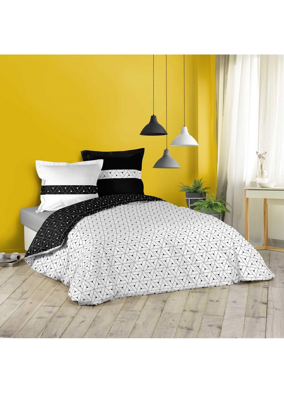 Parure de lit géométrie en noir et blanc (blanc et noir)