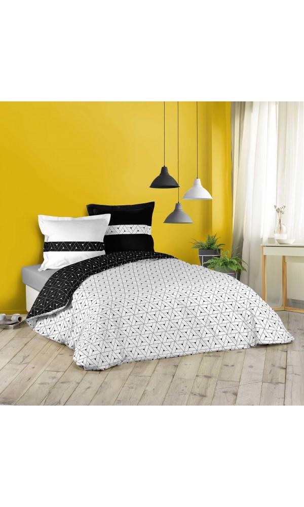 Parure de lit géométrie en noir et blanc - blanc et noir - 260 x 240 cm + 2 T