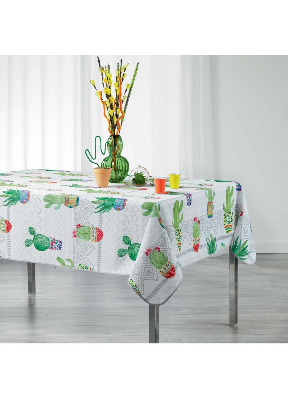 Nappe rectangulaire tendance cactus (Blanc)