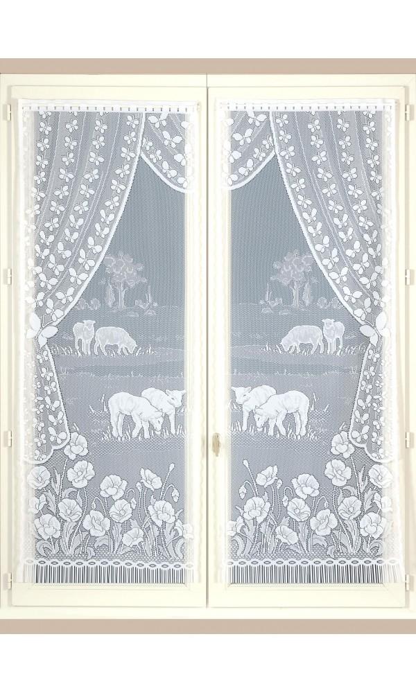 Paire de Vitrages Pâturages et Coquelicots - Blanc - 60 x 220 cm