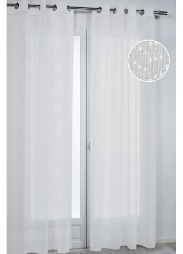 Voilage Uni Plumetis - Blanc - 140 x 260 cm