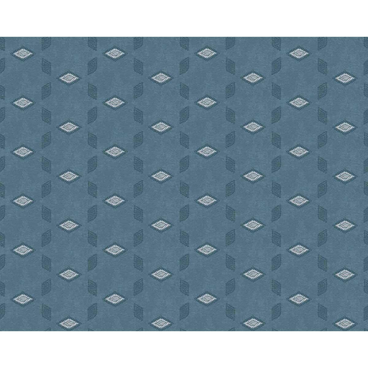 Papier peint à motifs géométriques reliefés - Bleu - 10 ml x 0,53 m