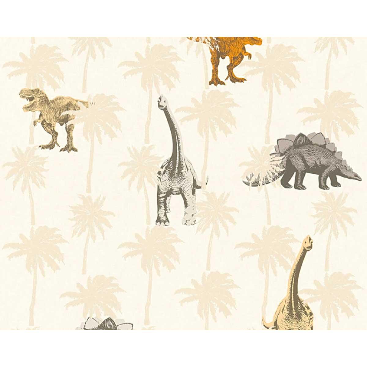 Papier peint enfant imprimé dinosaures (Sable)