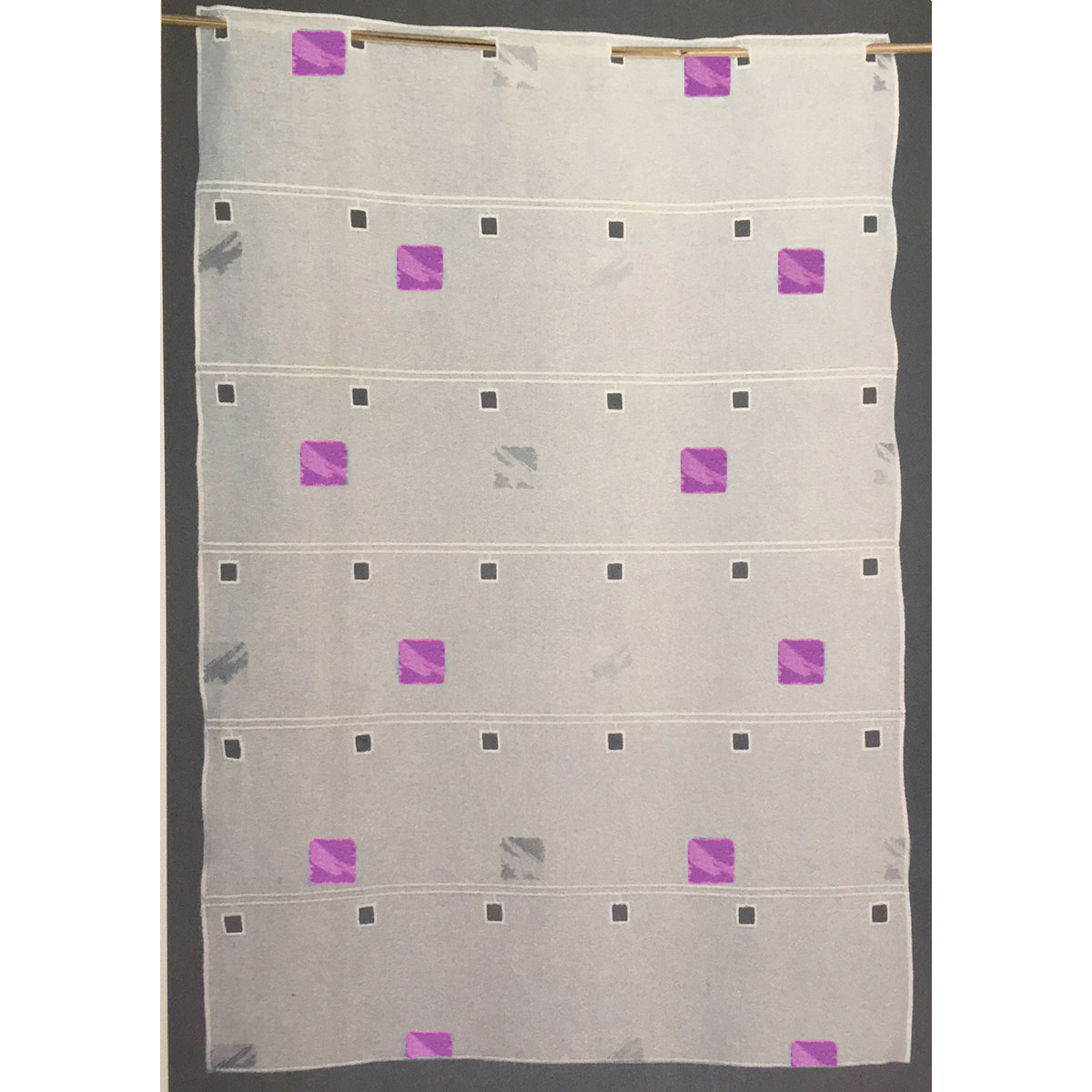 Brise bise modulable brodé de carrés colorés (Fuchsia)