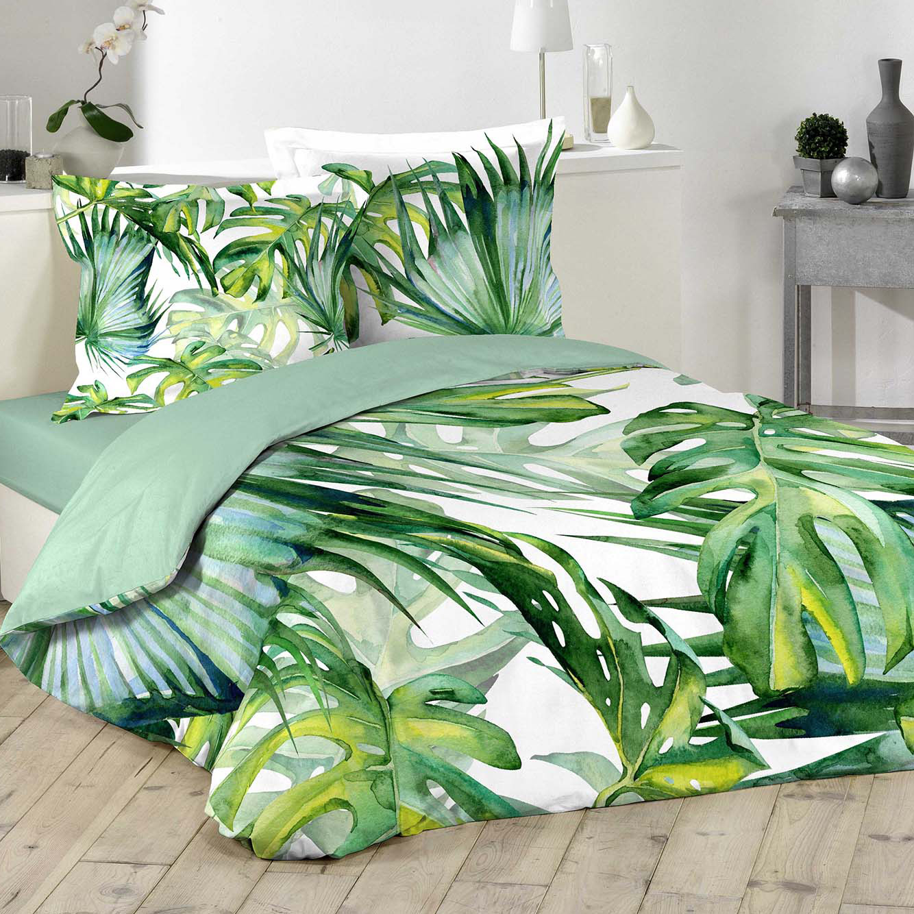 parure de lit feuilles tropicales vert homemaison. Black Bedroom Furniture Sets. Home Design Ideas
