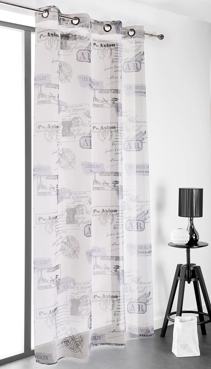 Voilage Imprimé Tampons Par Avion - Naturel - 150 x 240 cm