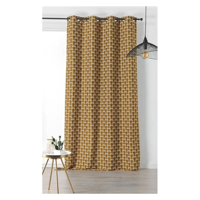 rideau d ameublement style ann e 30 jaune vert fonc. Black Bedroom Furniture Sets. Home Design Ideas