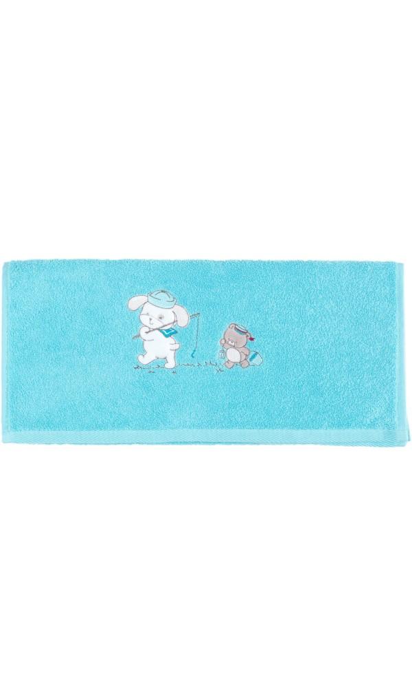serviette de toilette enfant brod 233 e en pur coton 500 gr m 178 bleu turquoise ecru homebain