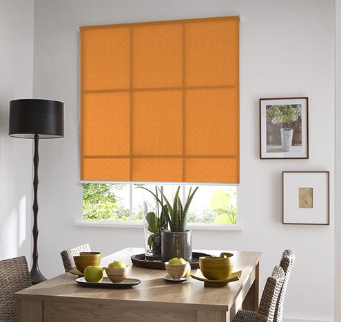 Store Enrouleur Tamisant Effet Granuleux - Orange - 90 x 250 cm