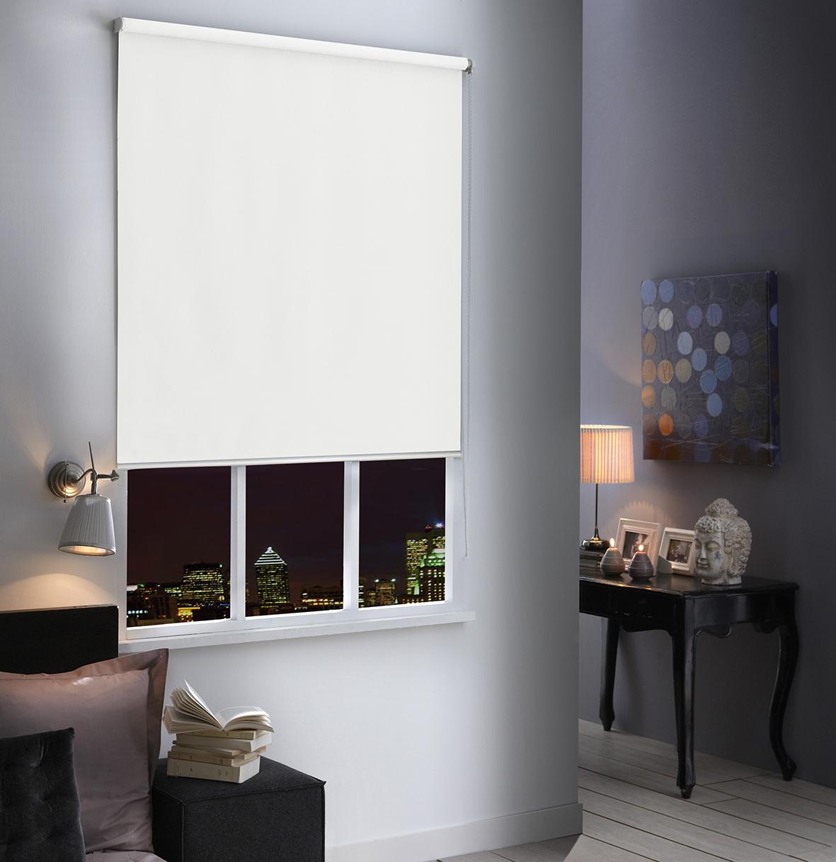 Store Enrouleur Occultant Uni - Blanc - 80 x 250 cm