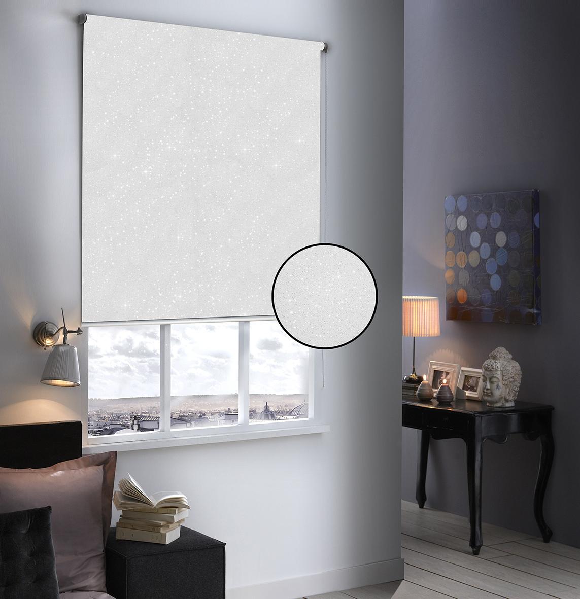 Store Enrouleur Occultant Pailleté - Blanc - 100 x 190 cm