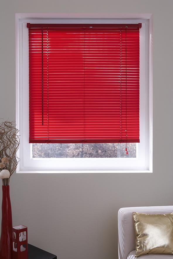 Store Vénitien Uni en PVC - Rouge - 45 x 175 cm