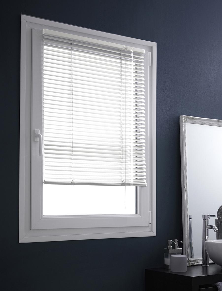 Store Vénitien en Aluminium Fixation Sans Percer - Blanc - 47 x 150 cm