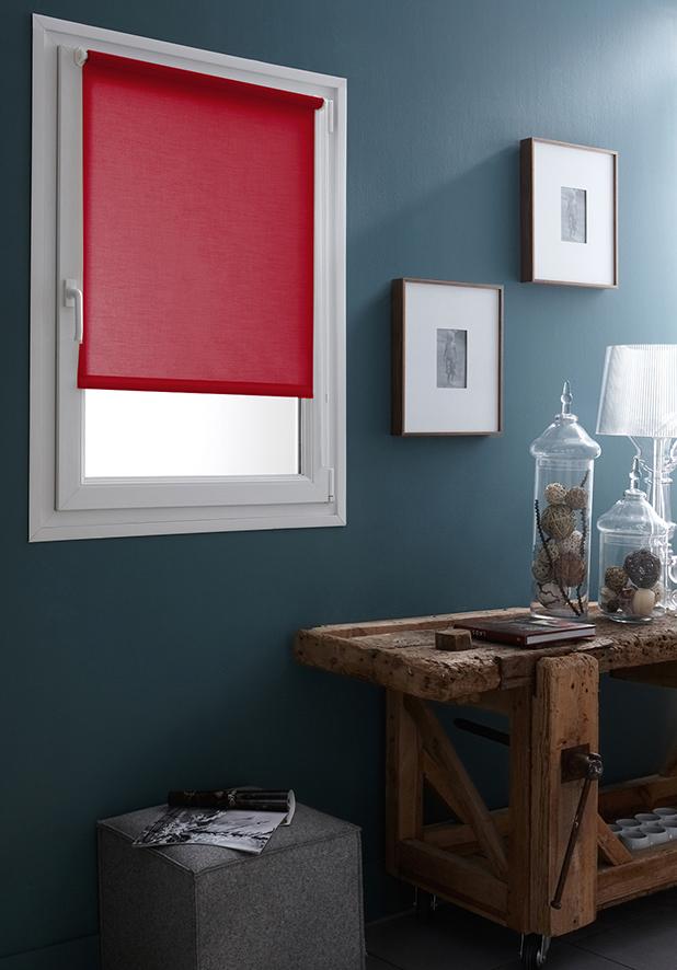 Store Enrouleur Tamisant Fixation Sans Percer - Rouge - 87 x 170 cm
