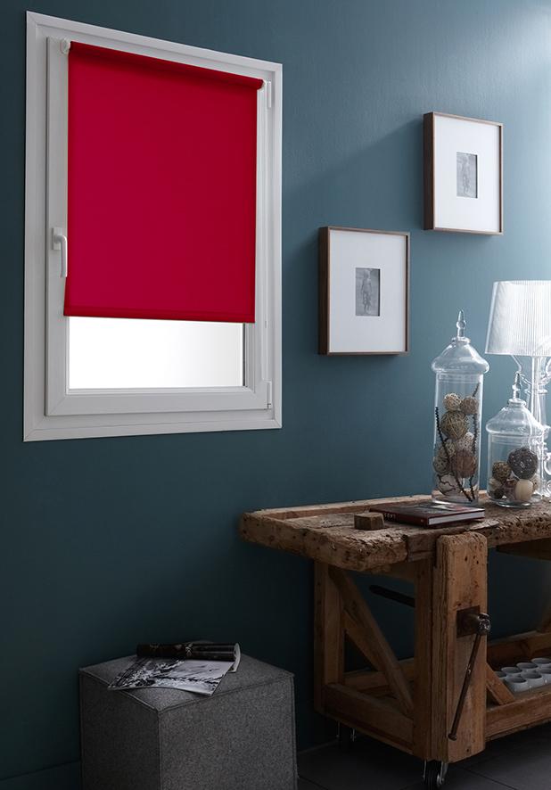 Store Enrouleur Occultant Fixation Sans Percer - Rouge - 42 x 170 cm