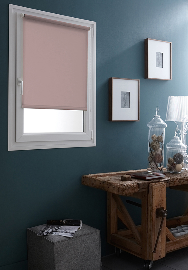 store enrouleur tamisant uni fixation sans percer rose lin bleu vert foug re. Black Bedroom Furniture Sets. Home Design Ideas