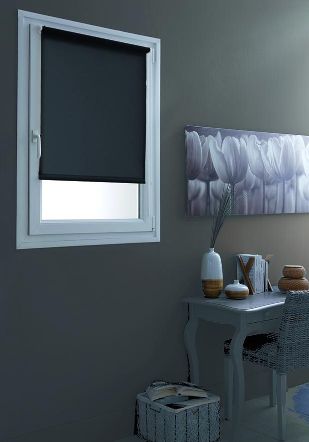 store enrouleur occultant fixation sans percer gris. Black Bedroom Furniture Sets. Home Design Ideas