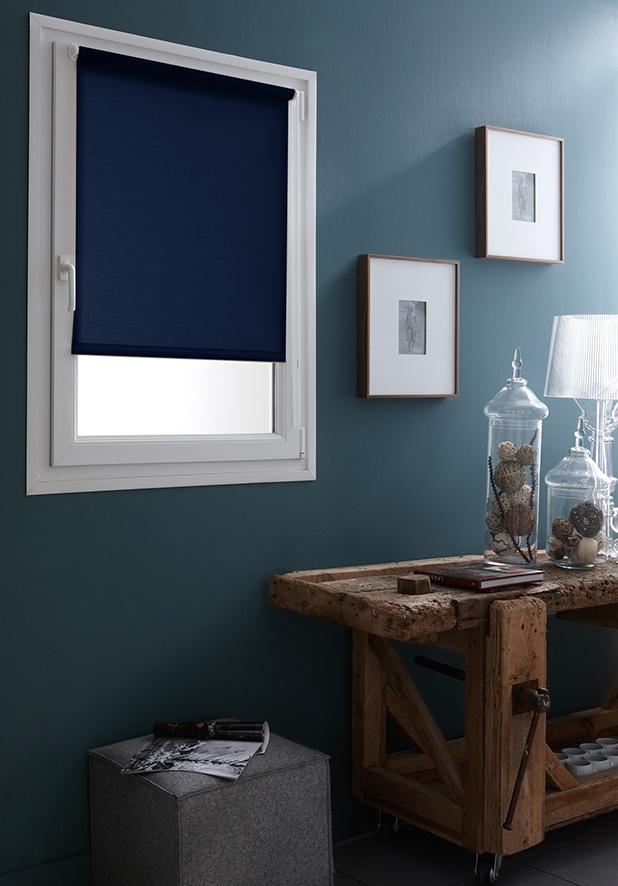 Store Enrouleur Occultant Fixation Sans Percer - Bleu - 42 x 170 cm