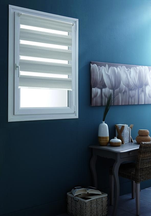 Store Enrouleur Jour/Nuit Teintes de Gris - Gris clair - 122 x 190 cm