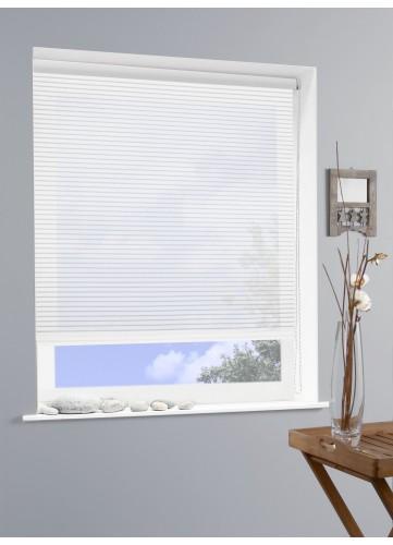 Store Enrouleur Voile Rayure Ajouré - Blanc - 150 x 190 cm