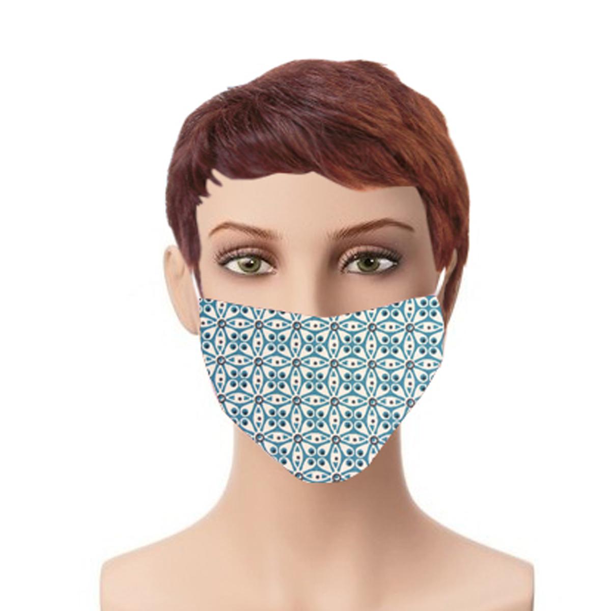 Lot de 4 masques en tissu géométrie arrondie (Bleu)