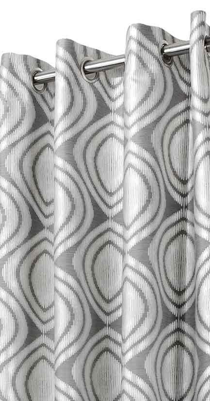 rideau aux formes g om triques gris homemaison vente en ligne rideaux. Black Bedroom Furniture Sets. Home Design Ideas