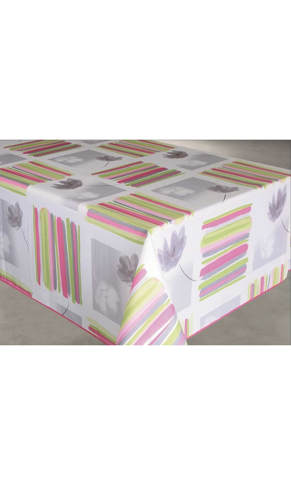 nappe enduite rectangulaire rayures et fleurs rose vert bleu gris homemaison vente. Black Bedroom Furniture Sets. Home Design Ideas