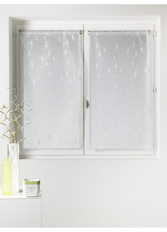 Paire de vitrages en organza 'goutte d'eau' argentés (Blanc)