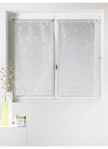 Paire de vitrage Organza et Jacquard à motifs gouttes - Blanc - 45 x 120 cm