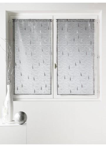 Paire de vitrage Organza et Jacquard à motifs gouttes - Gris - 80 x 160cm