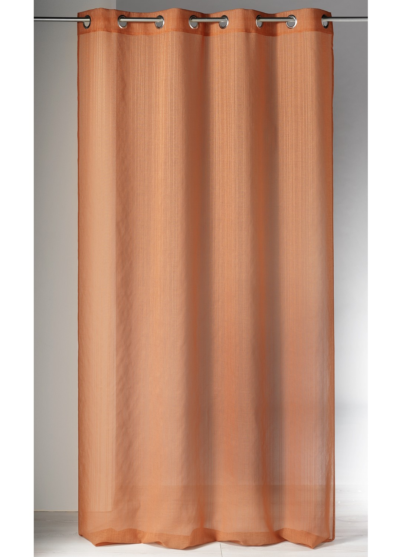 Voilage en Etamine Tissée à Fines Rayures (Terracotta)