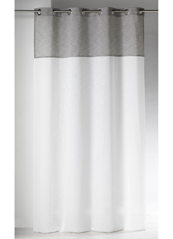 voilage en etamine deux tons effet lin gris beige bleu rose homemaison vente en. Black Bedroom Furniture Sets. Home Design Ideas