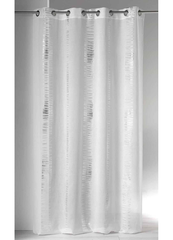 Voilage en Etamine à Imprimés Argentés (Blanc)