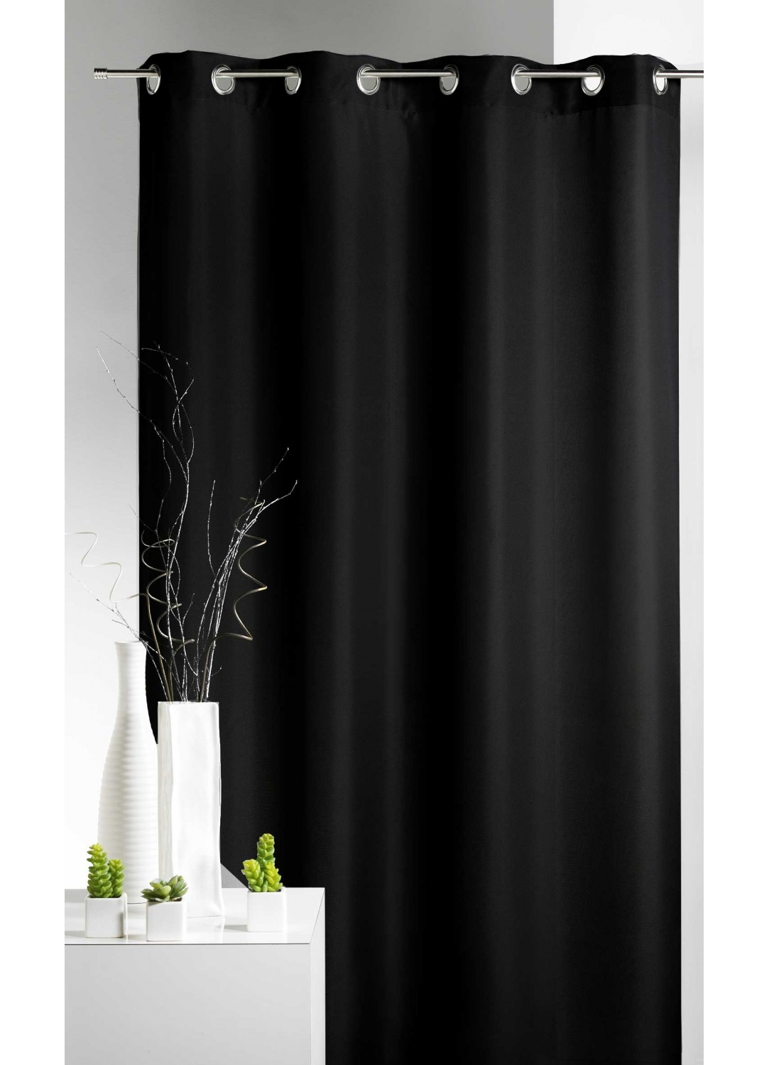 rideau 80 occultant grande largeur noir ivoire. Black Bedroom Furniture Sets. Home Design Ideas