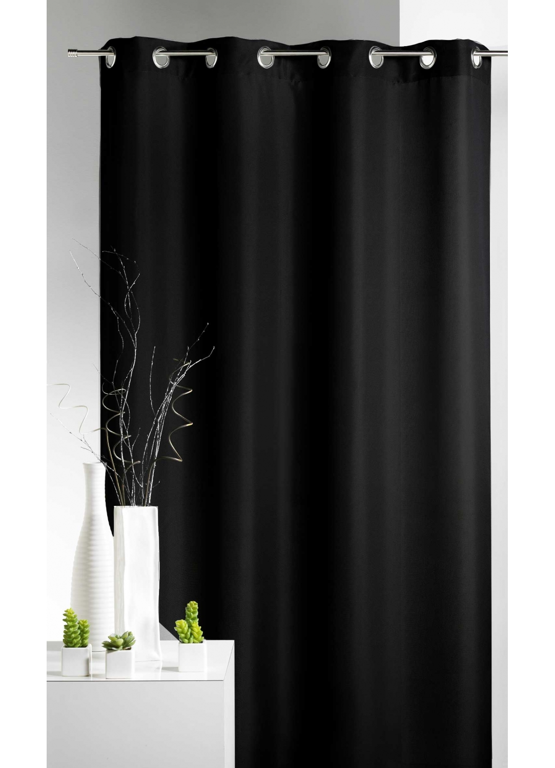 rideau 80 occultant uni noir maldives bambou ecru piment anthracite. Black Bedroom Furniture Sets. Home Design Ideas