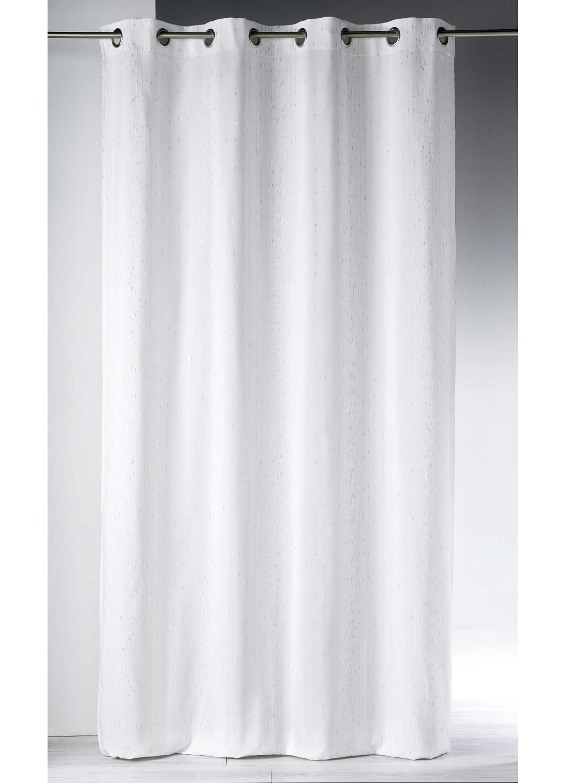 rideau tiss de fils m talliques blanc gris. Black Bedroom Furniture Sets. Home Design Ideas