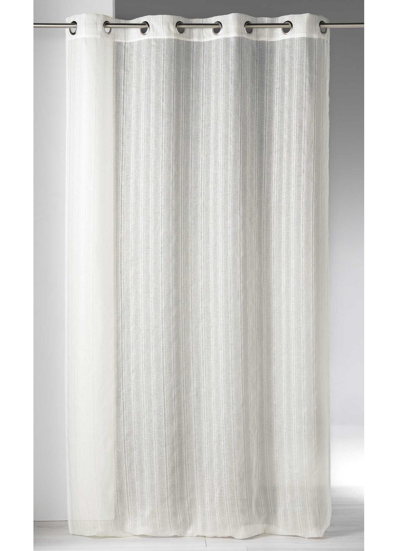 Visillo en estame a a rayas fantas a blanco gris for Cortina visillo blanco