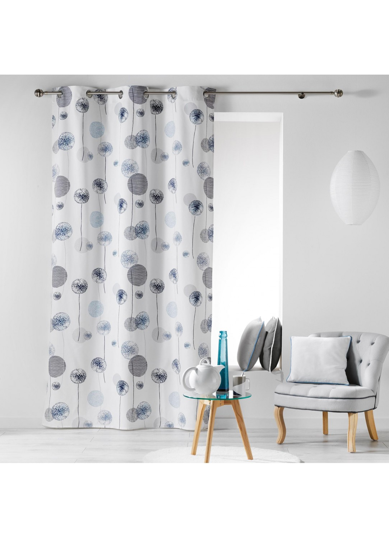 rideau en coton design imprim s pissenlits bleu menthe gris rose homemaison. Black Bedroom Furniture Sets. Home Design Ideas