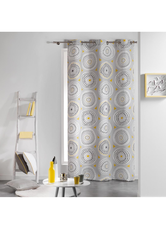 rideau en coton imprim s disco gris jaune rose menthe homemaison vente en ligne rideaux. Black Bedroom Furniture Sets. Home Design Ideas