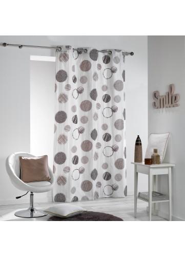 Rideau en Coton à Pois Design - Naturel - 140 x 280 cm