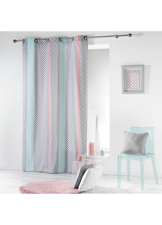 rideau en coton rayures verticales baroques rose menthe homemaison vente en ligne rideaux. Black Bedroom Furniture Sets. Home Design Ideas