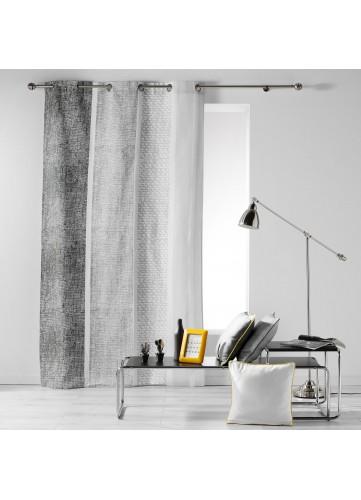 Rideau en Coton à Rayures Verticales Chinées - Gris - 140 x 240 cm