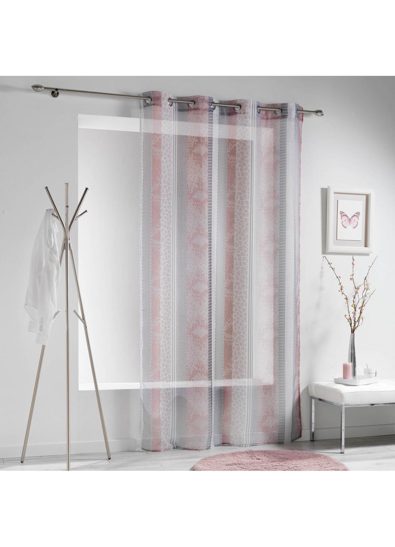 voilage rayures verticales serpent 140 x 240 cm rose. Black Bedroom Furniture Sets. Home Design Ideas
