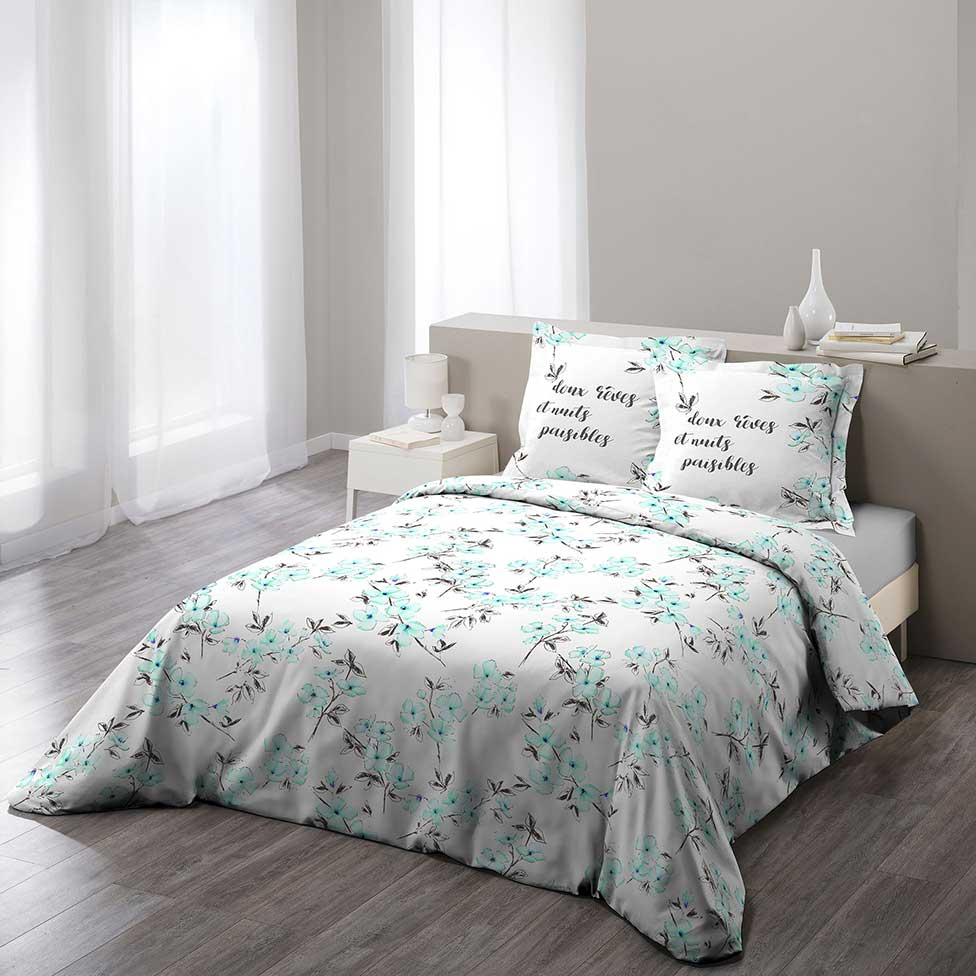 parure de lit fleurie menthe bleu gris rose. Black Bedroom Furniture Sets. Home Design Ideas