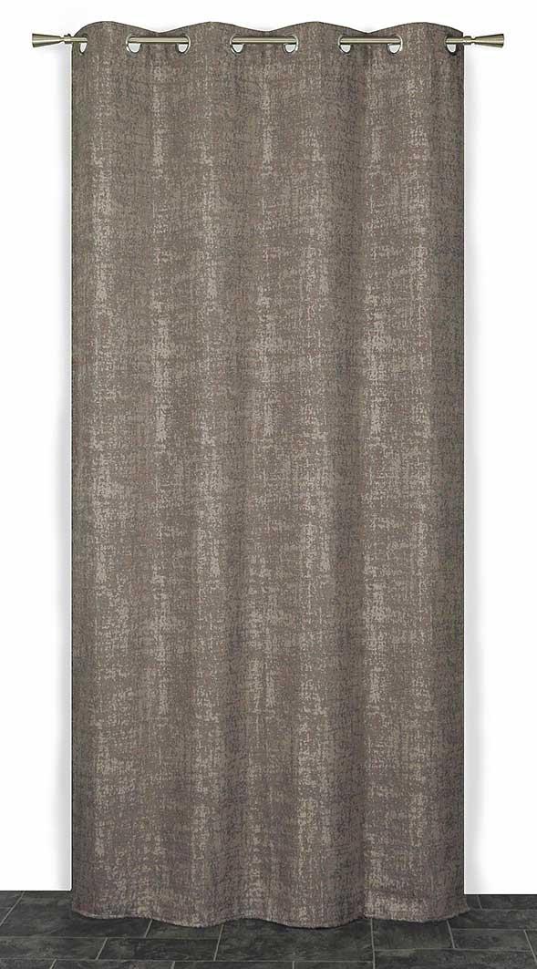 Rideau Velours Effet Craquelé - Taupe - 140 x 240 cm