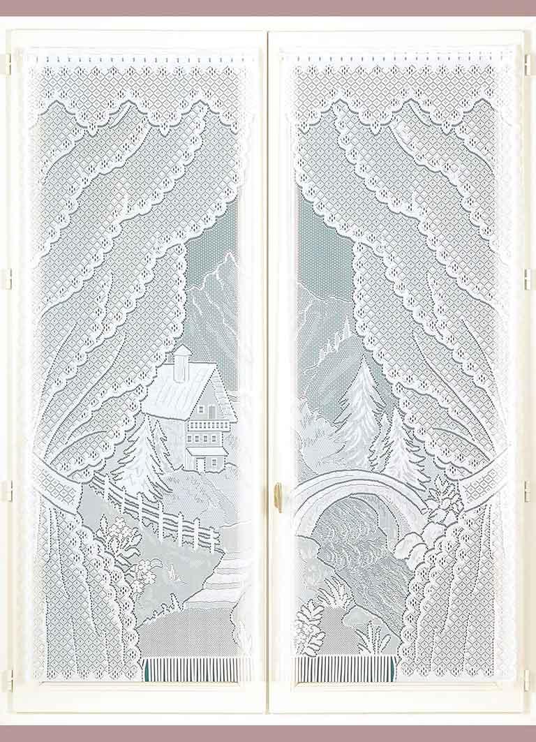 Paire de Vitrages Frangés en Dentelle - Blanc - 60 x 160 cm
