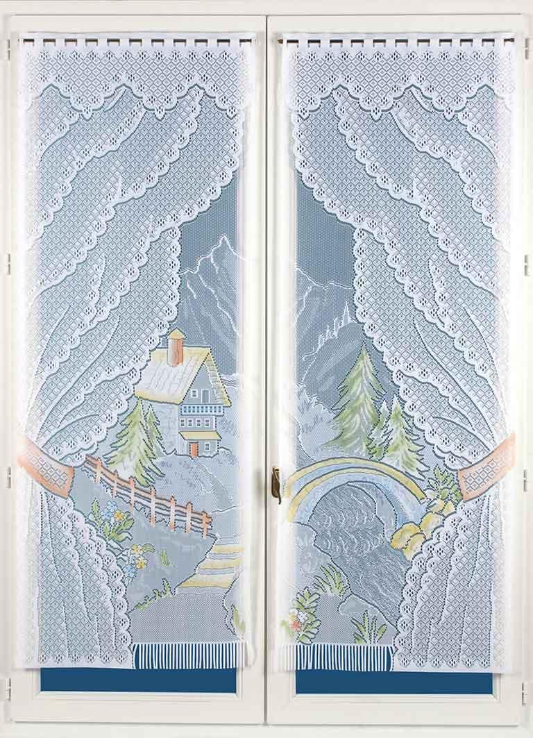 Paire de Vitrages Frangés en Dentelle - peint - 60 x 160 cm
