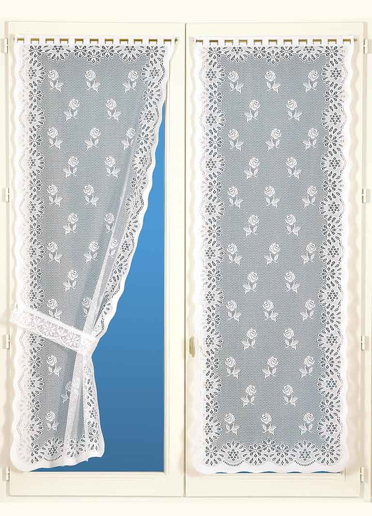 paire de rideaux bonne femme avec embrasses blanc. Black Bedroom Furniture Sets. Home Design Ideas